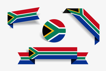 South African flag stickers and labels. Vector illustration.