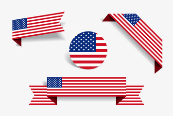 American flag stickers and labels. Vector illustration.