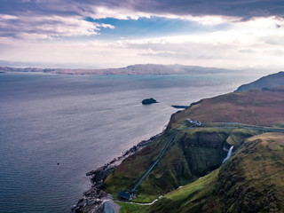 Aerial view of the very steep sea cliffs at Bearreraig Bay - Isle of Skye , Scotland