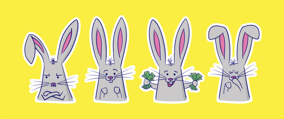 Set of cute rabbits with different emotions. 4 stickers perfect for kid's card, banners, stickers and other. Angry, positive, rich and giggling hare. Isolated vector illustration.
