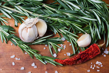 Fresh rosemary, garlic and hot peppers
