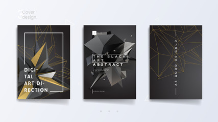 Dark abstract industrial brochure template set with 3d polygonal shapes and contours, can be used for technology brand, advertising promotion and typography design. Vector illustration