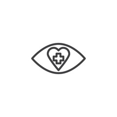 Medicine eye with heart and cross outline icon. linear style sign for mobile concept and web design. Human eye health care simple line vector icon. Symbol, logo illustration. Pixel perfect vector