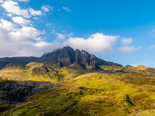Aerial view of the old man of Storr in autumn - Isle of Skye, Scotland