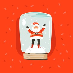 Hand drawn vector abstract fun Merry Christmas and Happy New Year time cartoon illustration greeting card with Santa Claus character in snow globe sphere isolated on red background