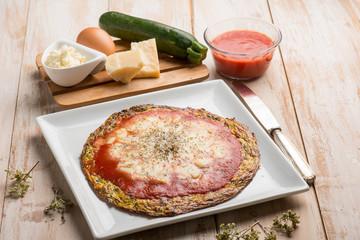 zucchinis omelette pizza with tomato and mozzarella