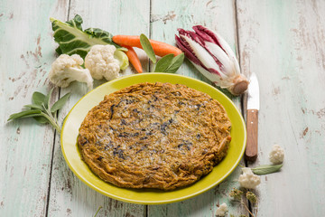 omelette with chicory cabbage carrot and sage