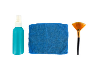 Cleaning set use for camera or computer screen, brush, liquid crystal screen and microfiber isolated on white background