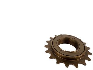 Single speed bicycle freewheel sprocket brown isolated on white background.