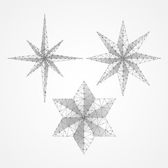 Set of Volumetric stars. Eight and six rays. Polygonal space low poly with connecting dots and lines. Star in the sky origami concept. Connection wireframe structure. Vector on white background