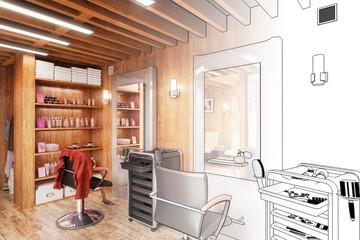 Barbershop Design (project)- 3d illustration