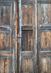 Old rustic wooden door vintage rough paint
