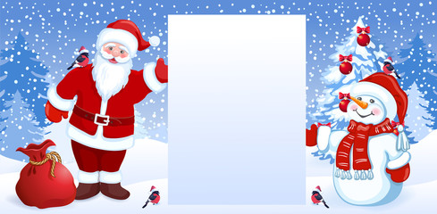 Cartoon Santa Claus and  funny snowman hold celebratory Christmas background