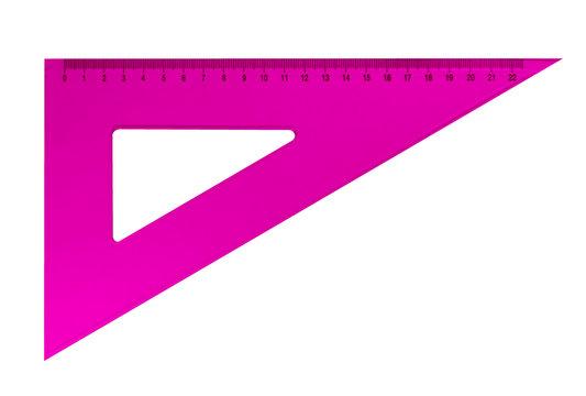 Plastic triangular ruler - pink