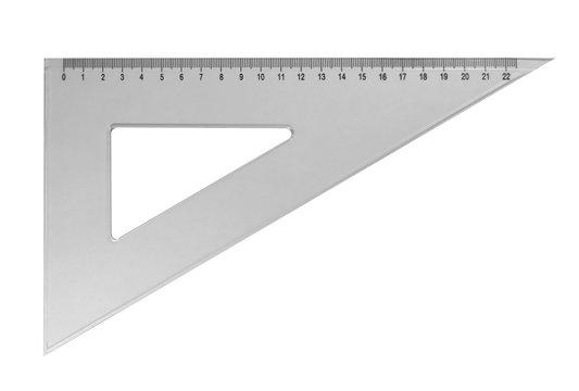 Plastic triangular ruler - white