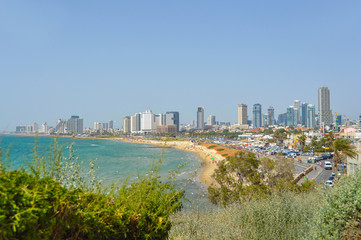 Panoramic view of beach in Tel Aviv