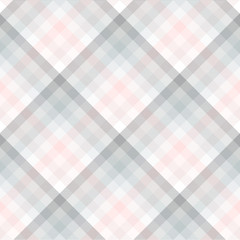 Plaid pattern in pale grey, pink and white