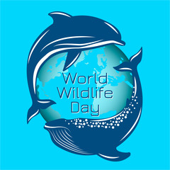 World Wildlife Day. Whale and dolphin on the background of the contours of the planet Earth.