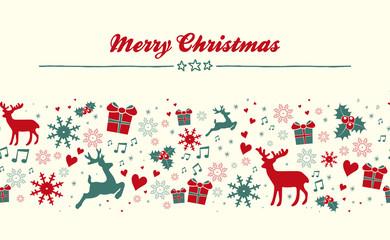 Merry Christmas Grußkarte mit weihnachtlichen Elementen