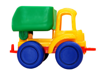 Motley small toy truck. White isolate.