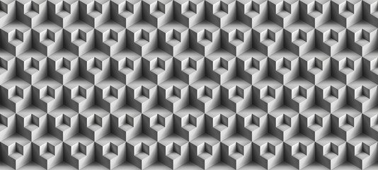 Volume realistic vector cubes texture, gray geometric seamless tiles pattern, design background for you projects