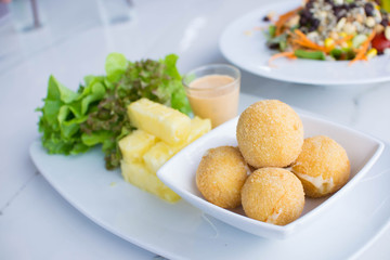 Fried Cheese ball with Pineapples.