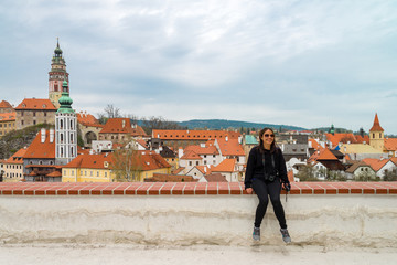 A woman tourlist enjoy view at Cesky Krumlov Castle , Czech
