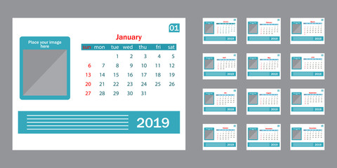 Calendar 2019. Vector template.