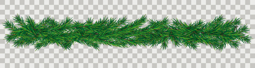 Christmas Green Twigs Transparent Wall mural