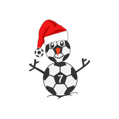 Snowman as a soccer player with Santa hat Christmas