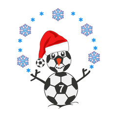 Snowman as a soccer player with Santa hat surrounded by snowflakes at Christmas