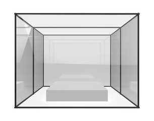 white clean gallery with empty modern showcase. 3d illustration