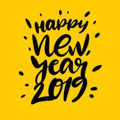 Happy New 2019 Year. Holiday hand drawn vector Illustration.