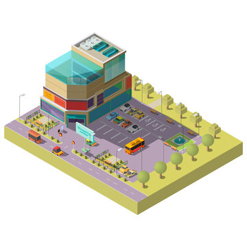 Vector 3d isometric shopping center with parking area. Multistorey modern building with place for different cars, bus stop. Supermarket, mall with glass shop windows. Architecture, cityscape concept.