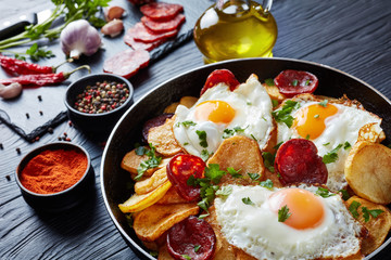 spanish fried eggs with potatoes, close-up
