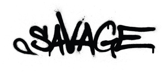 Printed kitchen splashbacks Graffiti graffiti savage word sprayed in black over white