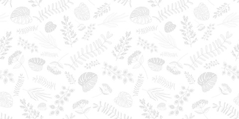 white pattern with plant leaves.