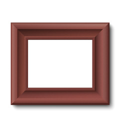 Brown wooden vintage frame isolated on transparent background. Vector frame template placed horizontally.