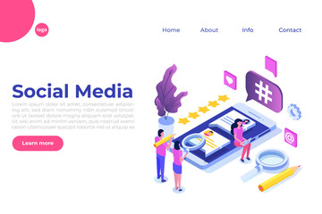 Social media isometric concept with characters. Landing page template. Vector illustration