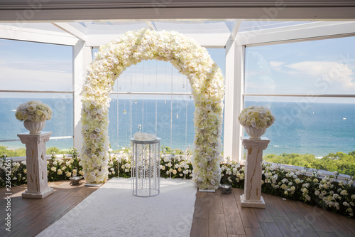 White Wedding Ceremony Decorations Indoor Stock Photo And Royalty