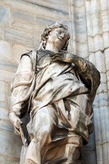 Saint Margaret, known as Margaret of Antioch, statue on the Milan Cathedral, Duomo di Santa Maria Nascente, Milan, Lombardy, Italy