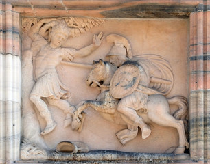 Marble relief on the facade of the Milan Cathedral, Duomo di Santa Maria Nascente, Milan, Lombardy, Italy