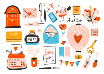 Love post office. Many various objects. Saint Valentine's day vector set. All elements are isolated