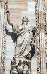 Saint John the Evangelist, statue on the Milan Cathedral, Duomo di Santa Maria Nascente, Milan, Lombardy, Italy