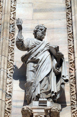 Saint Luke the Evangelist, statue on the Milan Cathedral, Duomo di Santa Maria Nascente, Milan, Lombardy, Italy