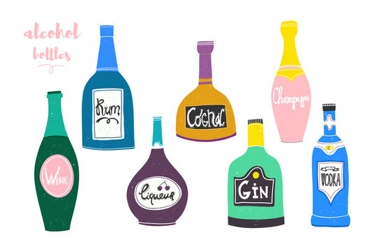Hand drawn various bottles of alcohol in unique trendy style. Vector illustration for menu design and posters. All elements are isolated