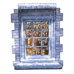 Watercolor Christmas winter window.