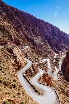 Winding switchbacks on the road through Dades Gorge (Gorges du Dadès), known as the Road of a Thousand Kasbahs in Morocco's Atlas Mountains near Ouarzazate