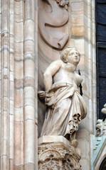 Saint Agatha of Sicily, statue on the Milan Cathedral, Duomo di Santa Maria Nascente, Milan, Lombardy, Italy