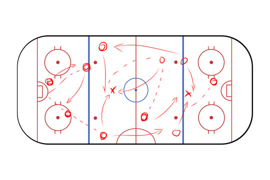 Hockey sport field plan with game strategy red scheme on white